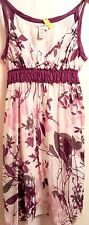 MAX STUDIO Purple/Gray Floral Print Cotton Shell/ Poly/Ray Lined Sundress SIZE L