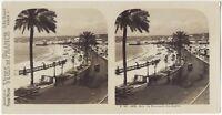 Nice Promenade Dei Inglese Foto Stereo Stereoview di Carta Analogica Vintage