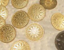 "set 14 Pierced gold tone Metal FLOWER fancy vintage new buttons 16mm 5/8"""