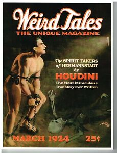 Weird Tales pulp replica facsimile, March 1924, bedsheet, Lovecraft, Houdini