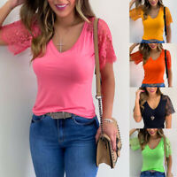 Women Summer Lace Short Sleeve T Shirt V Neck Tunic Casual Solid Blouse Slim Top