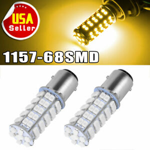 2x Amber/Yellow 1157 BAY15D 68smd Turn Signal/Parking/Backup LED Light Bulbs