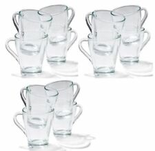12 Glass Mugs  With Handle - Coffee / Tea Stylish Beverage / Latte Glasses