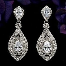 Rhodium Plated Clear Crystal Rhinestone CZ Bridal Drop Chandelier Earrings 05601