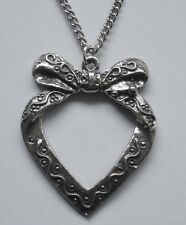 Bow Pendant (33mm x 27mm) Chain Necklace #1260 Pewter Heart w/