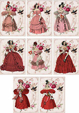 Vintage Jane Austen Valentine small note cards tags ATC altered art set of 8