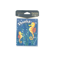 24 (3 Packs of 8) Sea Horse Thank You Thanks Cards & Envelopes Sea Life Ocean