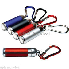 Red Keychain LED Flashlight with Carabiner Clip - Adjustable Camping Survival