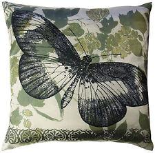 LINEN HOUSE Cushion Cover JARDINE SAGE 40X40cm SATIN BUTTERFLY floral