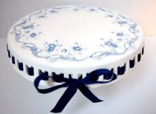 NEW GRACE'S TEAWARE VICTORIAN ROSES NAVY BLUE RIBBON CAKE FOOTED PEDESTAL STAND