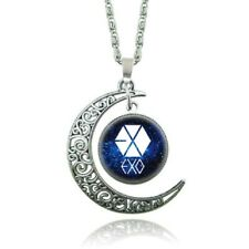 KPOP EXO Logo Moon Necklace Silver Color Glass Pendant Necklaces For Women Girls