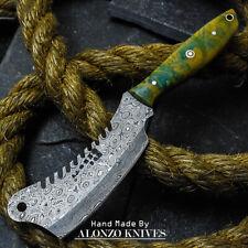ALONZO USA CUSTOM HANDMADE DAMASCUS MINI CLEAVER  KNIFE CORELON HANDLE 16499
