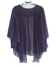 Womens EGGPLANT PURPLE Plus Size 6X Chiffon Cardigan Bolero Shrug Top