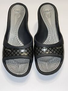 Crocs Sassari Wedge Heel Slide Sandal Shoes Black, Gold Women's Size 9