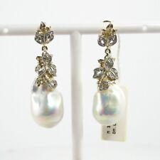 Orecchini pendenti donna oro 14 kt diamanti perle barocche Artigianali