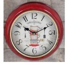 Hoff Wanduhr rund rot Küchenuhr Paris shabby Uhr 24cm Cafe Uhr 52845