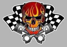 SKULL HEAD TETE DE MORT DAMIERS HOT ROD RACING 12cm  AUTOCOLLANT STICKER SA172