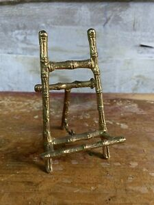 Vintage Brass Bamboo Style Easel Photo Frame Stand / Book Stand.