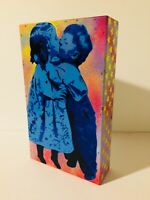 SAGE Original GIRL WITH BRUSH/KIDS IN LOVE Painting on wood box obey banksy kaws