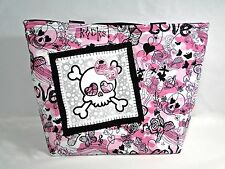 NWT Pink & Black Fleece Flannel Girly Skull Hearts Large Purse Tote Diaper Bag