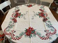"Beautiful Vintage CHRISTMAS tablecloth, POINSETTIA, Large 63""x50"""