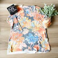 Soft Surroundings Women's Floral Knit Tunic Blouse Sz M, Medium