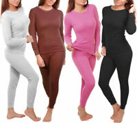Women 2pc Premium Cotton Waffle Knit Thermal Underwear Stretch Top & Bottom Set