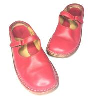 Womens Born Red Leather Shoes - Sz 9 - Mary Jane Style Shoes Slip On Comfy Flats