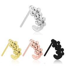 316L Surgical Steel Nose Hugger Stud Ring Flower - Choose Your Style & Color 20G