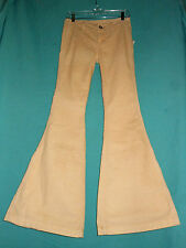 FREE PEOPLE 24 NWT Ivory Corduroy Stretch Bell Bottom Super Flare Jeans Hippie