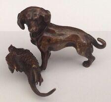 Bronze  Dog Retriever with Pheasant circa 1900