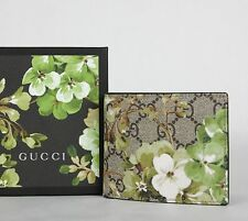 $495 Gucci Men's Beige/ebony GG Blooms Floral Coated Canvas Wallet 408666 8966