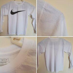 nike mens long sleeve crew neck vintage t shirt retro casual sports white size s