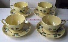 Vtg. Quimper Faience Cups & Saucers/Lot of 8/Soleil Yellow/Bird + Flowers/EUC