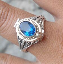 925 Sterling Silver-Balinese Poison/Pill Locket Ring W Blue Sapphire Size 8-PR10