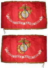 3x5 Marines USMC Double Sided 300-D Nylon Flag Sleeve/Fringe Stitched Top & Pin