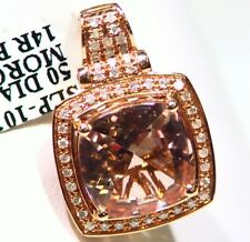 5.03CT 14K Gold Natural Morganite White Diamond Vintage Engagement Necklace Deco