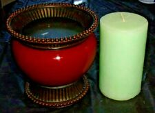 """PartyLite Moroccan Spice Pillar Candle Holder 5.25"""" Tall with 3"""" x 5"""" Melon"""