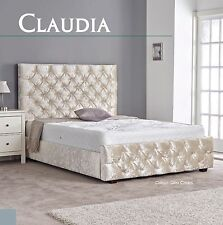 Claudia Crushed Velvet Fabric Bed 3FT 4FT6 5FT 6FT Headboard + Colour Options