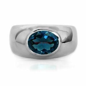 Natürlich London Blau Topas Edelstein Mit 925 Sterlingsilber Ring Mit für Herren