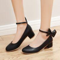 Mary Jane Women Leather Low Heels Buckle Strap Girls Bowknot Sweet Shoe Big Size