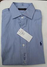 Hemd - Gr.40 - 41 US 16 - Herren Ralph Lauren blau-weiß feine Streifen - Neuware
