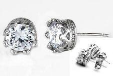 Clear Round CZ Stud Post Earrings Women Men Unisex Rhodium 2.25 Carats