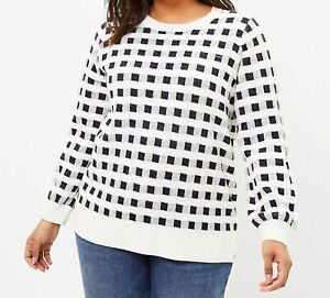 LOFT Plus size 16/18 NEW Gingham Soft Knit Pullover Sweater Navy/White MSRP $69