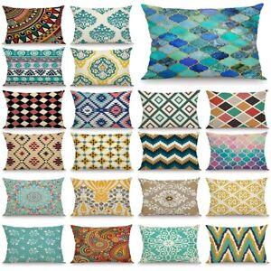 Geometric Rectangle Pillow Case Waist Throw Cushion Cover Home Sofa Decor Gift