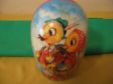 Vintage German Large Paper Mache Easter Egg - Easter Egg Candy Container Ducks -