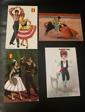 4 Rare Vintage Embroidered Postcard Regional Costumes made in Spain Flamenco