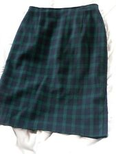 ST MICHAEL 1980s 90s SKIRT TARTAN Blackwatch Pure New Wool Pencil Wiggle SZ 12