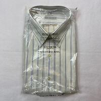 Van Heusen Mens Large 16.5 Short Sleeve Button Down Shirt White with Blue Stripe
