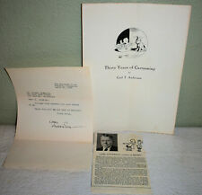 """16. Typed Signed Letter By Carl Anderson """"Henry"""" Comic Strip + 30 Yrs Of Cartoon"""